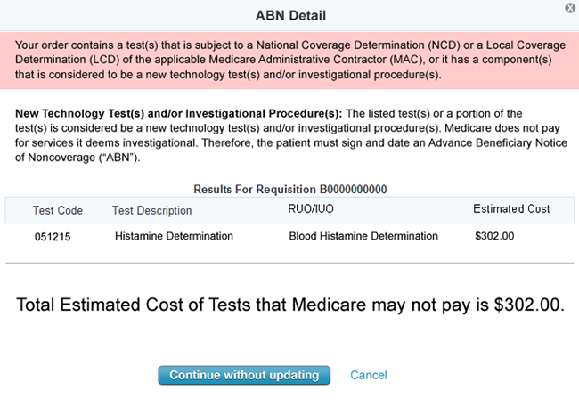 ABN Detail of Medicare medical necessity diagnosis codes