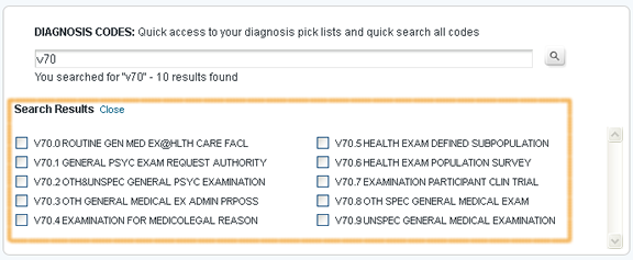 Search for Diagnosis Code